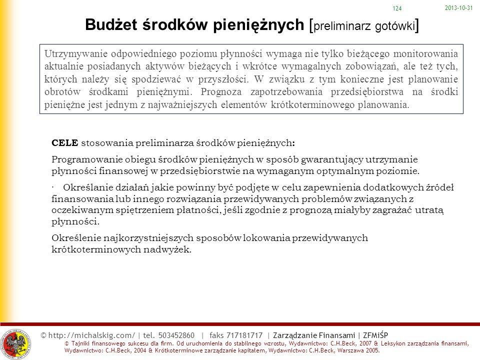 Budżet środków pieniężnych [preliminarz gotówki]